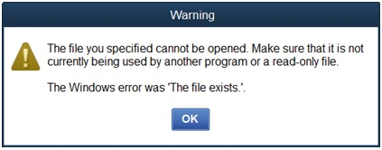 QuickBooks Errors The File Exists- resolved